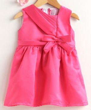 Rassha Bow Decorated Sleeveless Dress - Pink