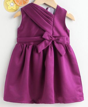 Rassha Bow Decorated Sleeveless Dress - Violet