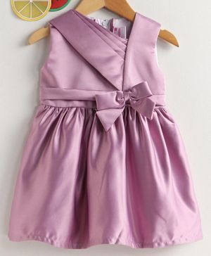 Rassha Bow Decorated Sleeveless Dress - Purple
