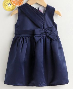 Rassha Bow Decorated Sleeveless Dress - Navy Blue