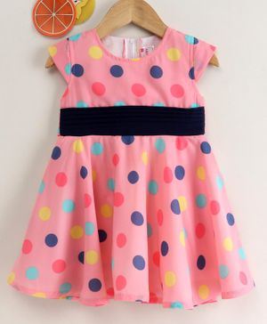 Rassha Polka Dot Print Cap Sleeves Dress - Light Pink