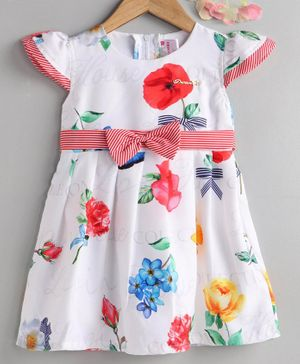 Rassha Flower Print Cap Sleeves Dress - White