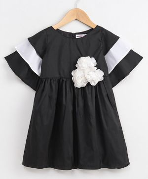My Pink Closet Flower Decorated Half Sleeves Dress - Black