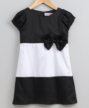 My Pink Closet Bow Decorated Short Sleeves Dress - Black