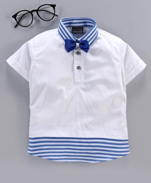 Rikidoos Striped Half Sleeves Tee With Bow - White