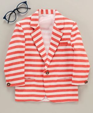 Rikidoos Striped Full Sleeves Blazer - White & Red