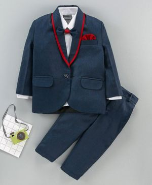 Rikidoos Solid Full Sleeves Party Suits With Bow - Navy Blue