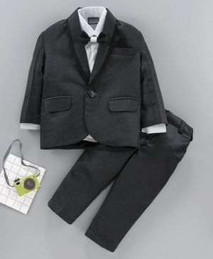 Rikidoos Full Sleeves Solid Shirt With Bow Tie & Blazer With Pants - Black