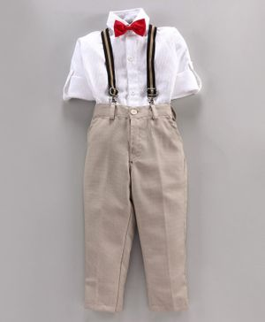 Rikidoos Full Sleeves Shirt With Pants & Suspenders With Two Bow Ties - White Beige