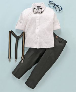 Rikidoos Full Sleeves Shirt With Pants & Suspenders With Two Bow Ties - White Black