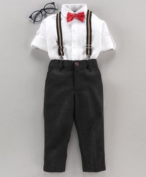 Rikidoos Full Sleeves Solid Shirt With Bow Tie & Pants With Detachable Suspenders - White & Black
