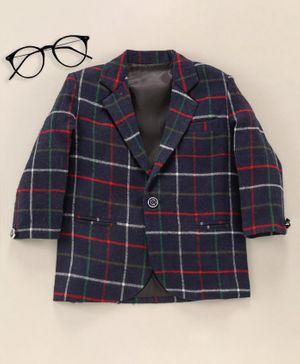 Rikidoos Full Sleeves Checked Blazer - Navy Blue