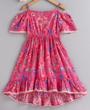 Pspeaches Butterfly & Flower Print Half Sleeves Dress - Pink