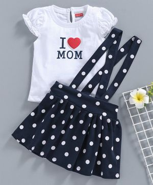 Babyhug Short Sleeves Top with Skirt & Suspenders Mom Print - White Navy Blue