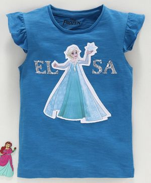 Disney Frozen Short Sleeves Top Elsa Patch - Blue
