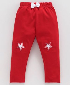 Mom's Love Full Length Leggings Star Patch - Red