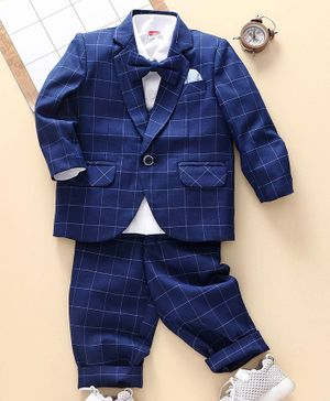 Babyhug Babyhug 4 Piece Party Suit - Blue