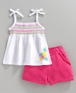 Babyhug Singlet Sleeves Top with Shorts Graphic Print - White Pink