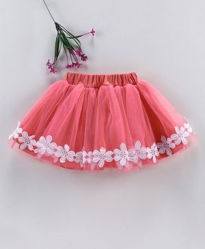 Babyhug Party Wear Net Frill Skirt With Lace Detailing - Coral