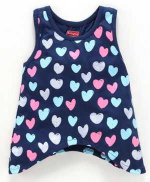 Babyhug Sleeveless Top Heart Print - Navy Blue