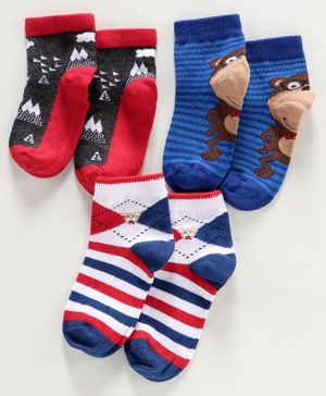 Mustang Ankle Length Socks Monkey Design Pack of 3 - Blue Red White