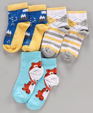 Mustang Ankle Length Socks Tiger Design Pack of 3 - Blue Grey Yellow
