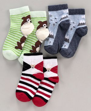 Mustang Ankle Length Socks Animal Design Pack of 3 - Green Grey Red