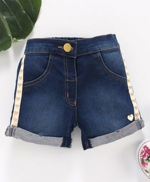 Little Kangaroos Solid Color Denim Shorts - Dark Blue
