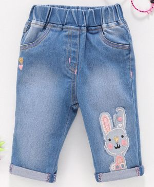Little Kangaroos Denim Jeans Bunny Patch - Light Blue
