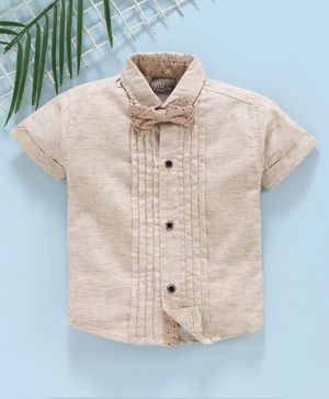 Little Kangaroos Half Sleeves Solid Color Shirt with Bow - Beige