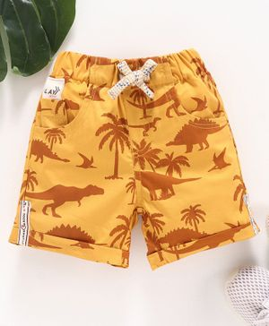 Little Kangaroos Shorts Dinosaur Print - Yellow
