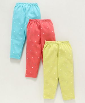Zero Full Length Lounge Pants Heart Print Pack of 3 - Yellow Blue Red