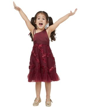 Tic Tac Toe Sleeveless Sequinned Leaves Decorated Dress - Maroon