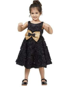Tic Tac Toe Sleeveless All Over Embroidered Sequinned Bow Detailed Dress - Black