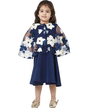 Tic Tac Toe Full Sleeves Floral Embroidered Cape Style Dress - Blue