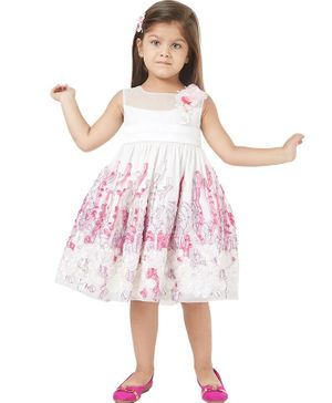 Tic Tac Toe Sleeveless Embroidered Flower Decor Dress - White