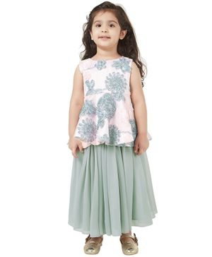 Tic Tac Toe Floral Embroidered Sleeveless Top With Skirt - Pink Grey
