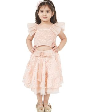 Tic Tac Toe Cap Sleeves Smocked Top With Floral Decor Skirt - Light Peach