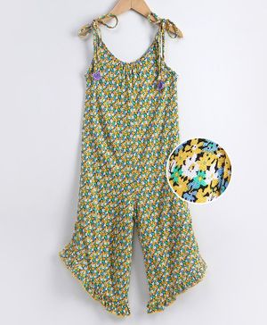 Tiara Flower Printed Sleeveless Jumpsuit - Yellow