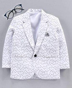 Dapper Dudes Full Sleeves All Over Tiny Triangle Printed Blazer - White
