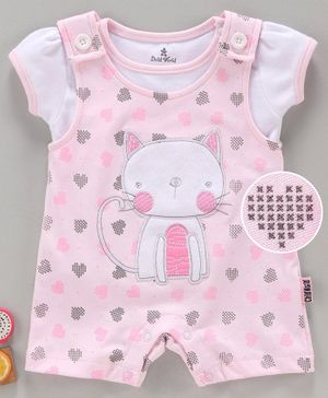 Child World Dungaree Style Romper with Half Sleeves Inner Tee Kitty Patch - Pink