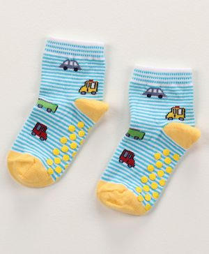Mustang Ankle Length Anti Skid Stripe Socks Vehicle Design - Blue Yellow