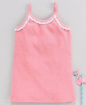 Stupid Cupid Lace Detailed Sleeveless Top - Pink