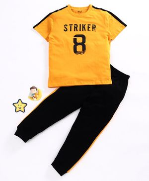 Smarty Half Sleeves Tee and Track Pant Striker Print - Yellow Navy Blue