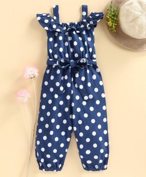 Babyhug Cold Shoulder Jumpsuit Polka Dot Print - Navy Blue