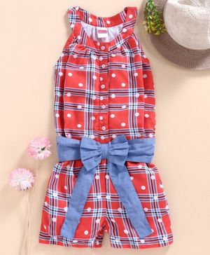 Babyhug Checked Sleeveless Jumpsuit Bow Applique - Red Blue