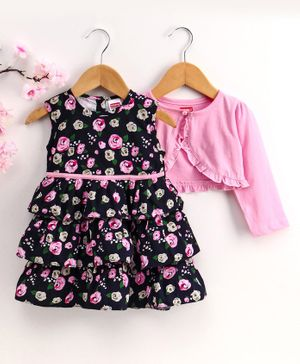 Babyhug Sleeveless Layer Frock with Shrug Floral Print - Navy Blue Pink