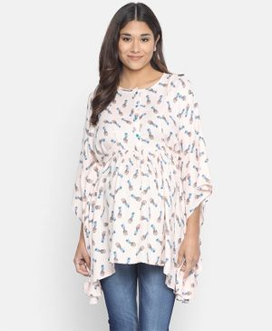 The Kaftan Company Pineapple Punch Three Fourth Sleeves Maternity Kaftan Top - Beige