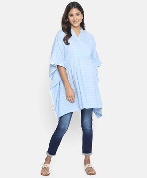 The Kaftan Company Solid Half Sleeves Maternity Kaftan Top - Blue