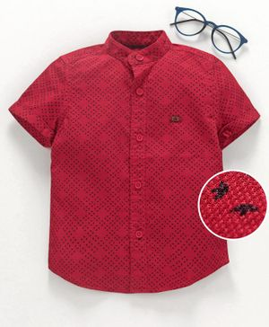 Under Fourteen Only Printed Half Sleeves Shirt - Red